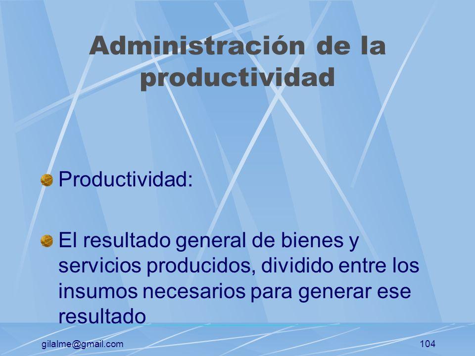 gilalme@gmail.com103 El sistema de operaciones Personas Tecnología Capital Equipo Materiales información Proceso de transformación Bienes servicios In