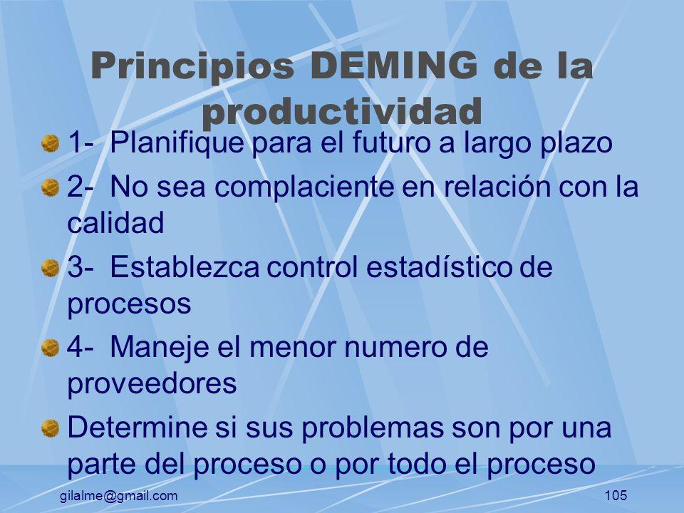 gilalme@gmail.com104 Administración de la productividad Productividad: El resultado general de bienes y servicios producidos, dividido entre los insum