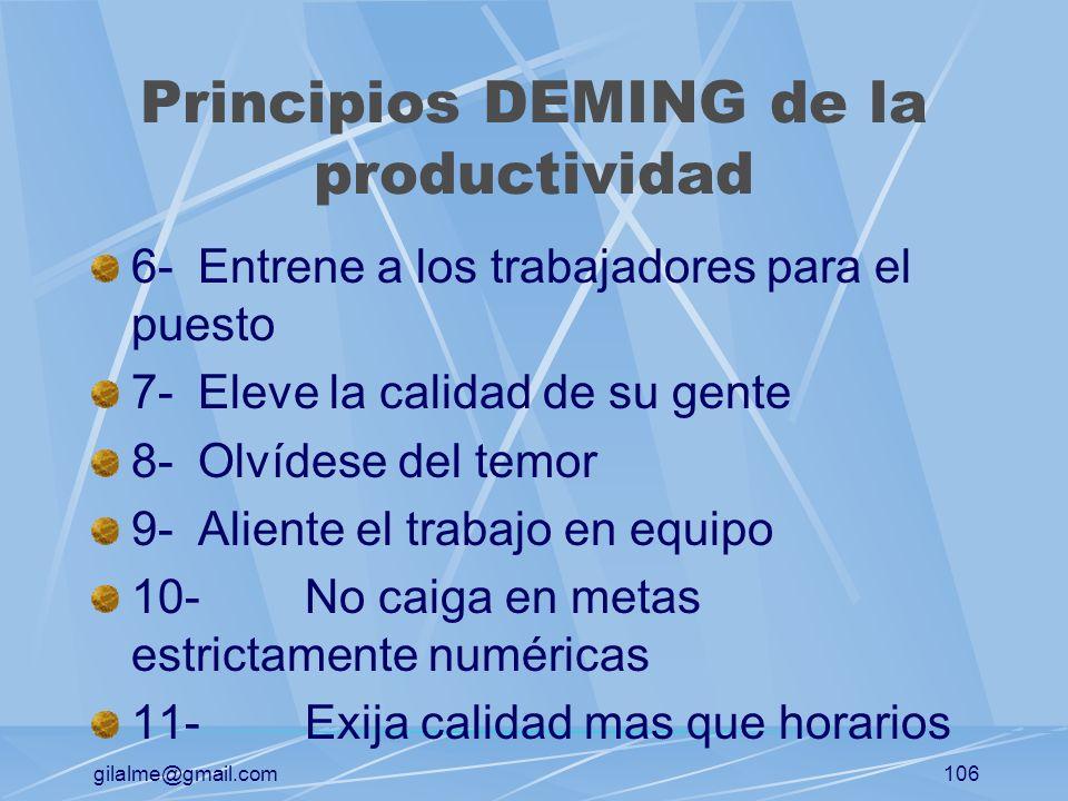 gilalme@gmail.com105 Principios DEMING de la productividad 1-Planifique para el futuro a largo plazo 2-No sea complaciente en relación con la calidad