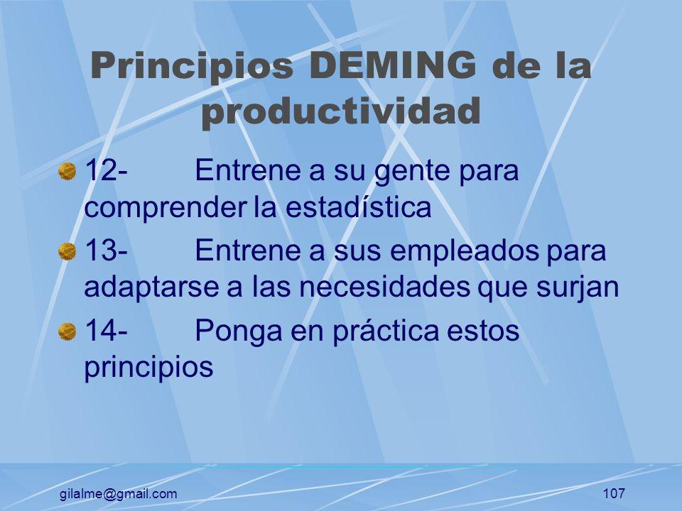 gilalme@gmail.com106 Principios DEMING de la productividad 6-Entrene a los trabajadores para el puesto 7-Eleve la calidad de su gente 8-Olvídese del t