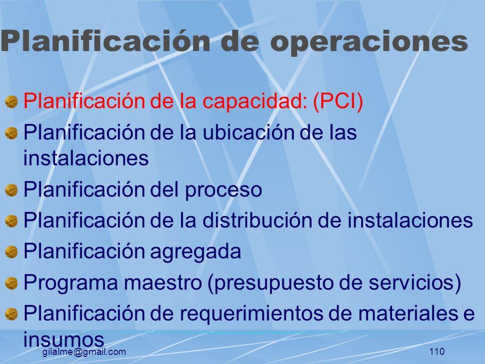 gilalme@gmail.com109 Manufactura de operaciones y de servicios Organizaciones de manufactura: Organizaciones que producen bienes físicos Organizacione