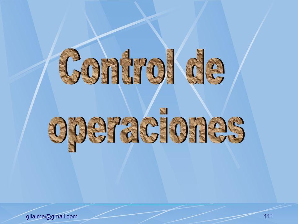 gilalme@gmail.com110 Planificación de operaciones Planificación de la capacidad: (PCI) Planificación de la ubicación de las instalaciones Planificació
