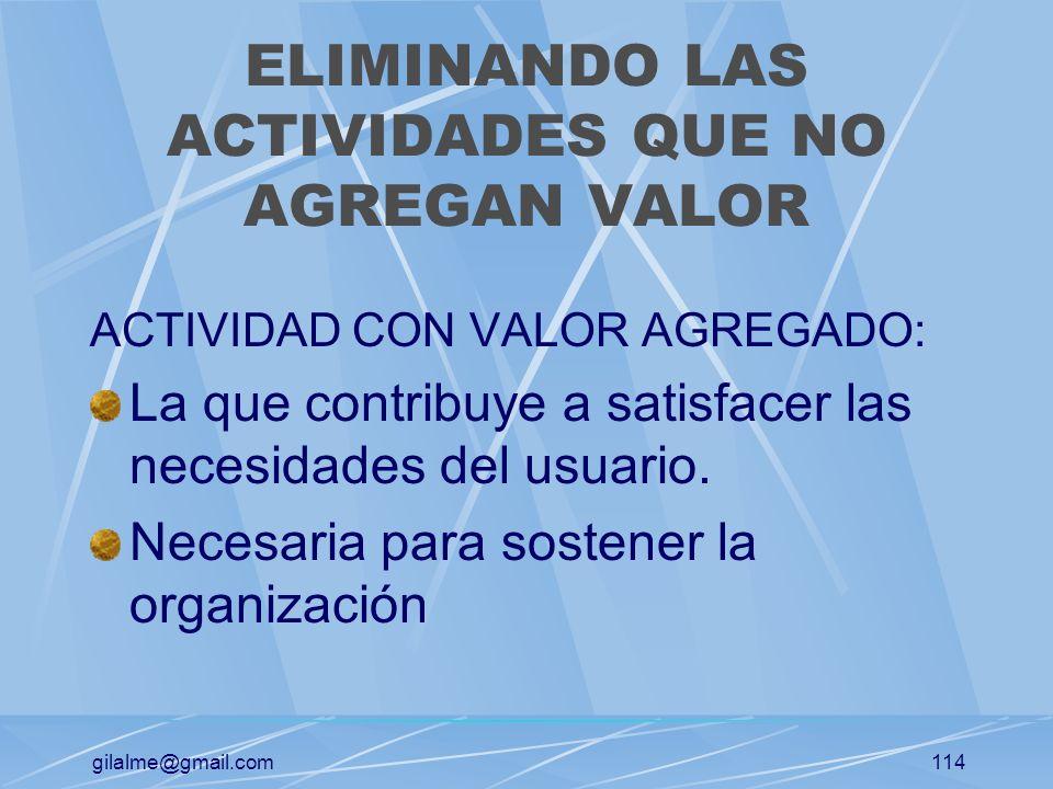 gilalme@gmail.com113 CONTROLANDO LAS DIRECTRICES DE COSTOS PREGUNTAS CLAVES: ¿podemos reducir costos en esta actividad manteniendo el nivel de atenció