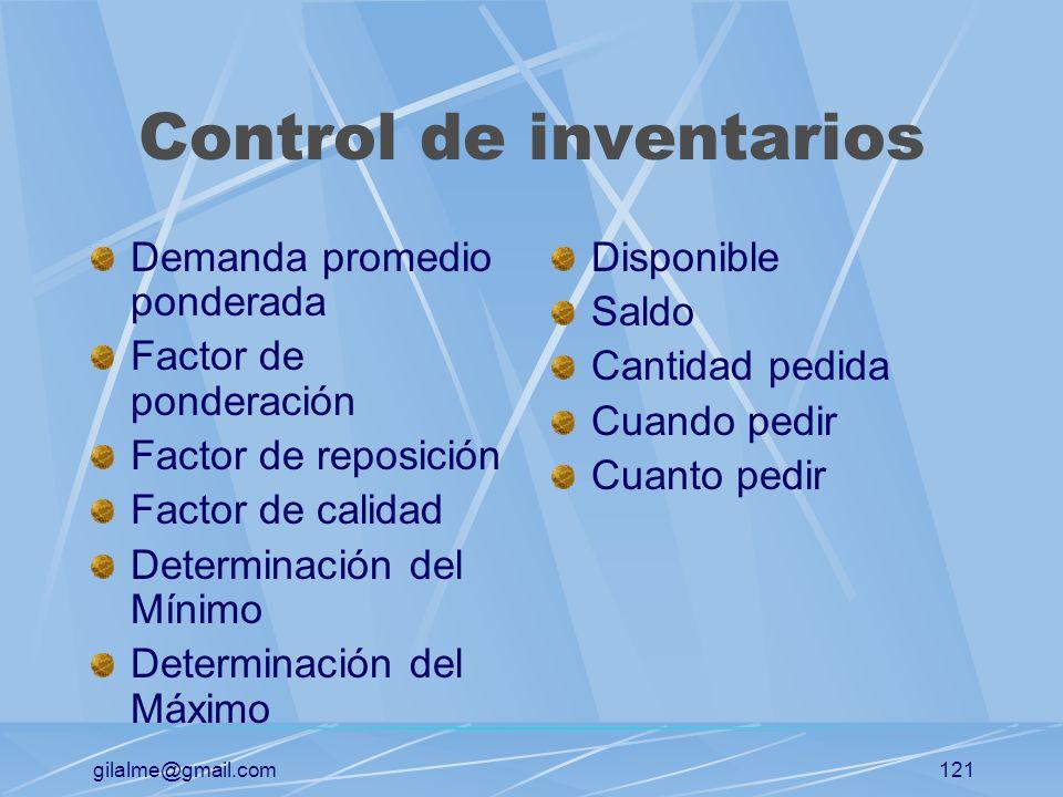 gilalme@gmail.com120 EL CONTROL DE COMPRAS Control de pedidos desde el momento de su requisición hasta la llegada del material Determinación del punto
