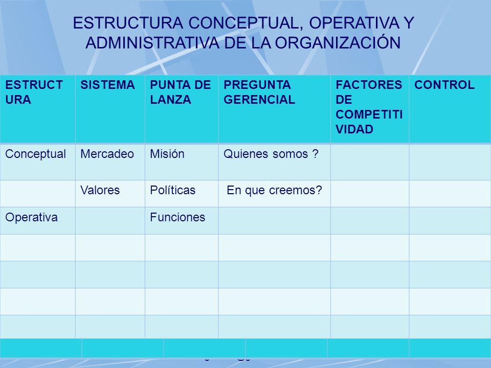 06/11/2013gilalme@gmail.com29 ESTRUCTU RA SISTEMAPUNTA DE LANZA PREGUNTA GERENCIAL FACTORES DE COMPETITI VIDAD CONTROL ConceptualMercadeoMisiónQuienes