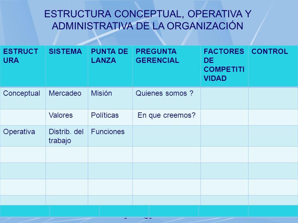 06/11/2013gilalme@gmail.com30 ESTRUCT URA SISTEMAPUNTA DE LANZA PREGUNTA GERENCIAL FACTORES DE COMPETITI VIDAD CONTROL ConceptualMercadeoMisiónQuienes