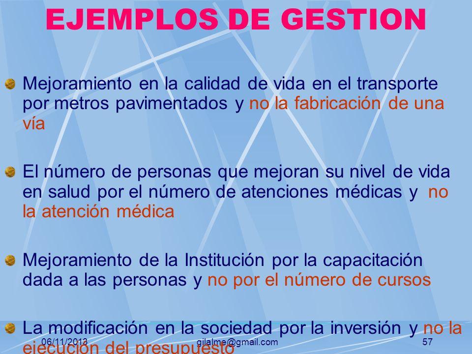 06/11/2013gilalme@gmail.com56 GESTION Se refiere al mejoramiento de objetivos Está relacionada con los logros en la sociedad y no con el trabajo o act