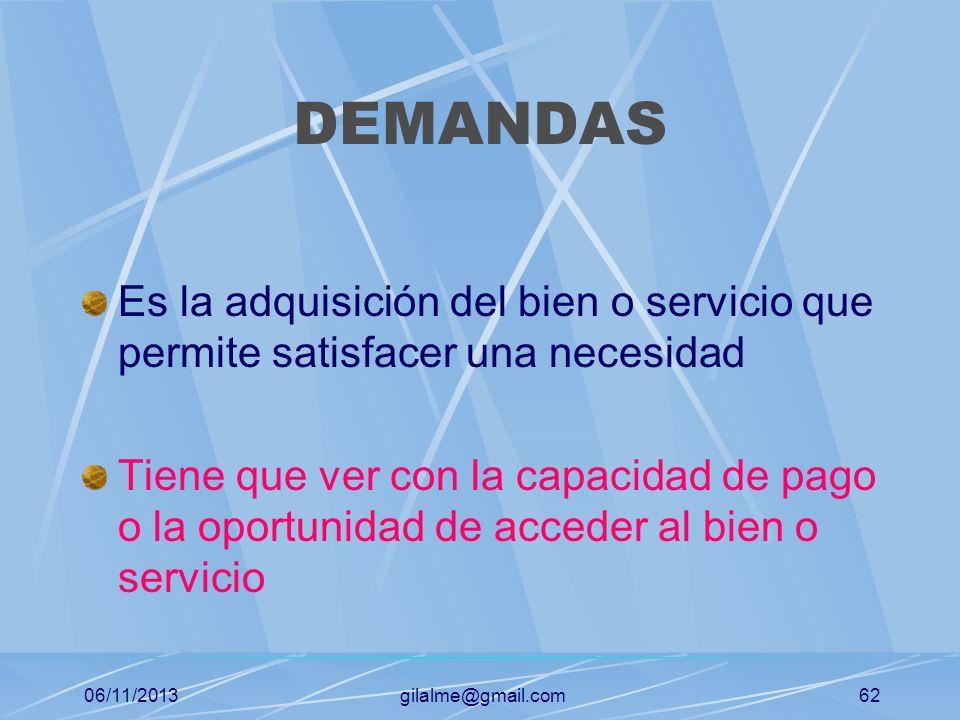06/11/2013gilalme@gmail.com61 QUE SON DESEOS Los satisfactores, productos o servicios con los cuales se espera suplir las carencias o necesidades Está