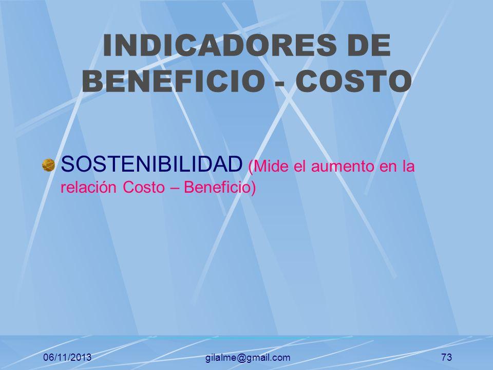 06/11/2013gilalme@gmail.com72 INDICADORES DE GESTION EN LO INSTITUCIONAL INDICADORES DE GESTION FINANCIERA Indicadores de liquidez Indicadores de apal