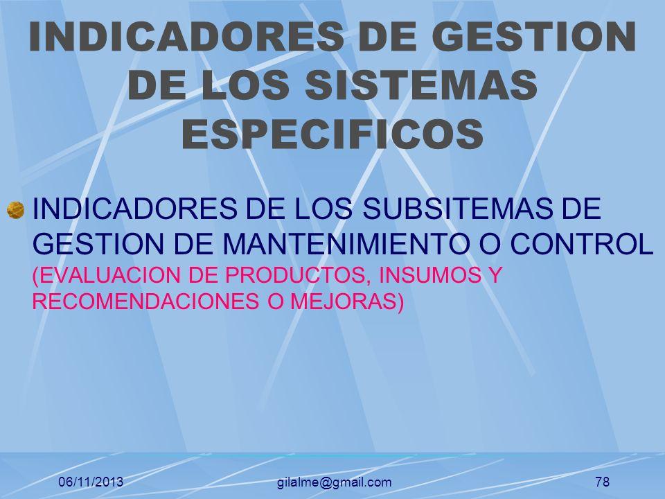06/11/2013gilalme@gmail.com77 INDICADORES DE GESTION DE LOS SISTEMAS ESPECIFICOS INDICADORES DEL SUBSISTEMA DE GESTION DE MATERIALES (CONTRIBUCION DE