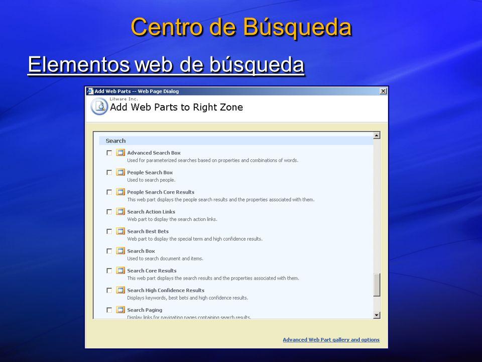 Elementos web de búsqueda Centro de Búsqueda