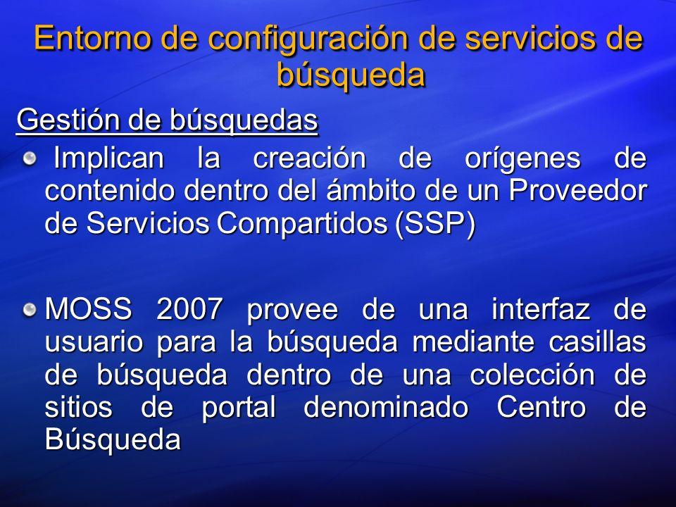 Gestión de búsquedas Implican la creación de orígenes de contenido dentro del ámbito de un Proveedor de Servicios Compartidos (SSP) Implican la creaci