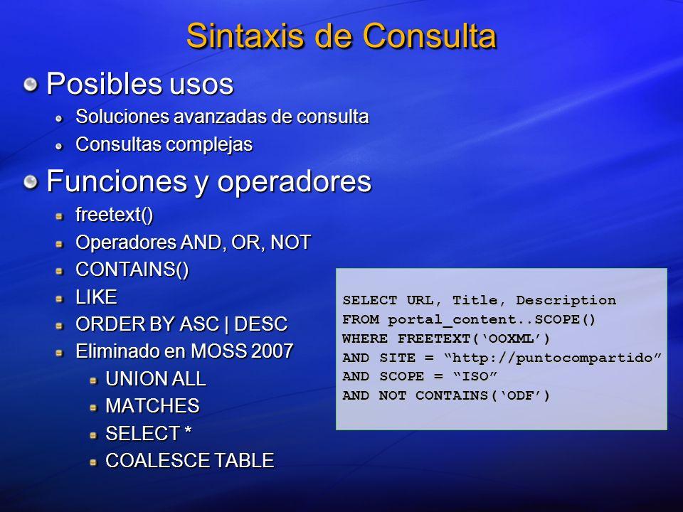 Posibles usos Soluciones avanzadas de consulta Consultas complejas Funciones y operadores freetext() Operadores AND, OR, NOT CONTAINS()LIKE ORDER BY A