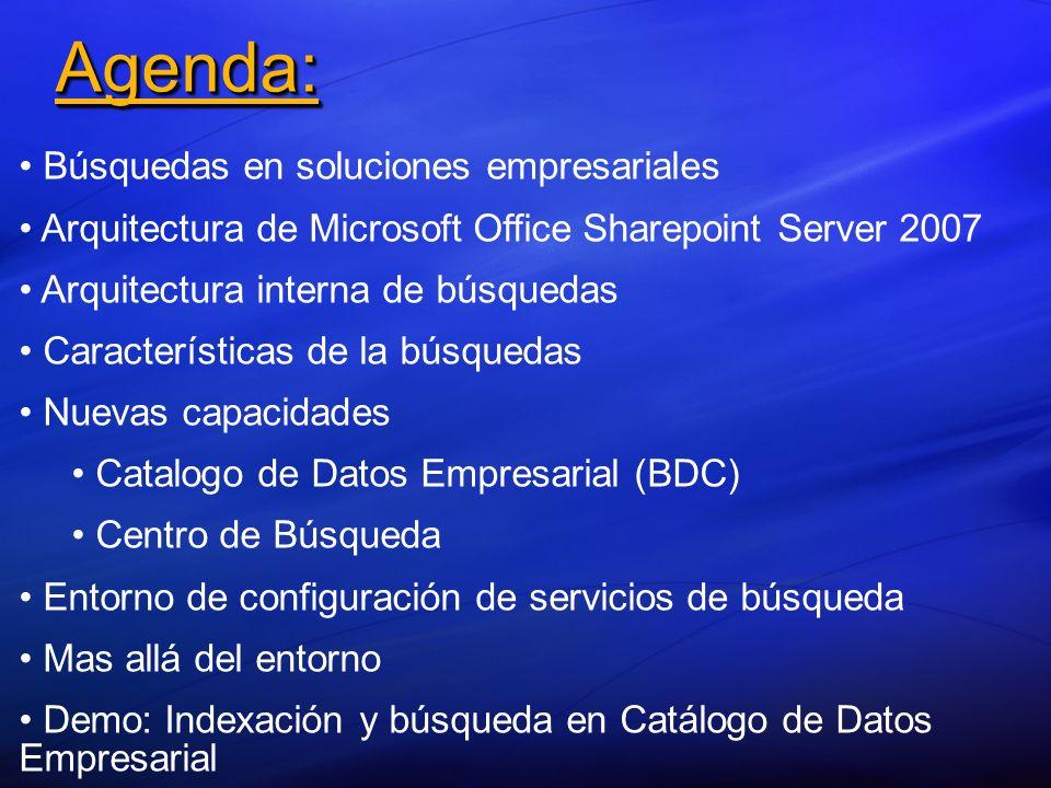 Agenda:Agenda: Búsquedas en soluciones empresariales Arquitectura de Microsoft Office Sharepoint Server 2007 Arquitectura interna de búsquedas Caracte