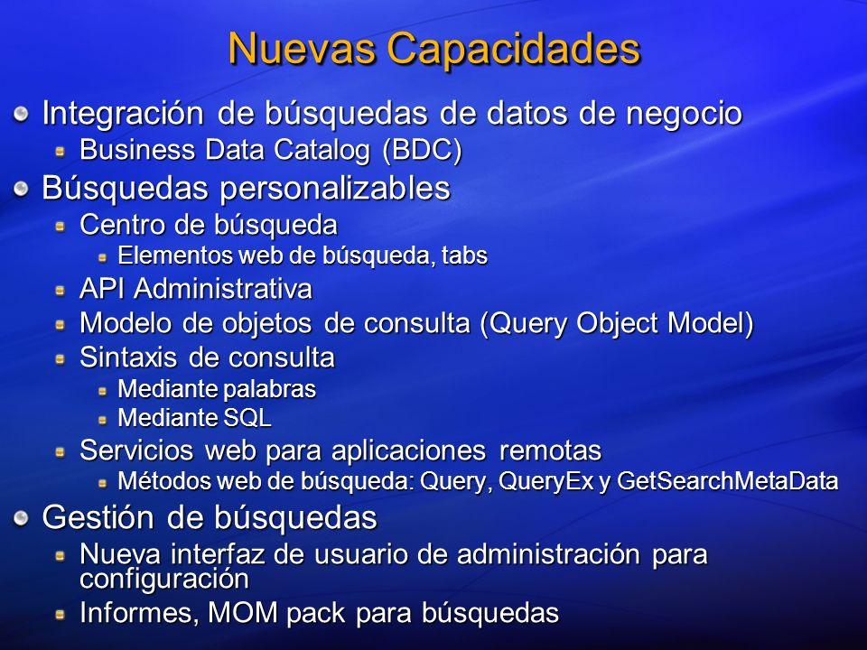 Nuevas Capacidades Integración de búsquedas de datos de negocio Business Data Catalog (BDC) Búsquedas personalizables Centro de búsqueda Elementos web