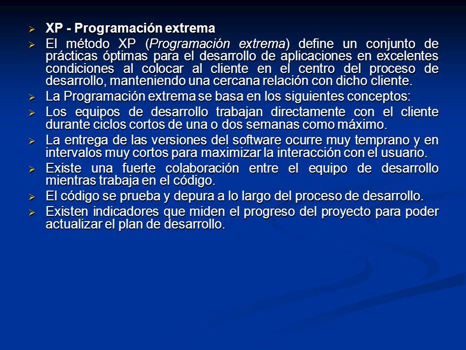 XP - Programación extrema El método XP (Programación extrema) define un conjunto de prácticas óptimas para el desarrollo de aplicaciones en excelentes
