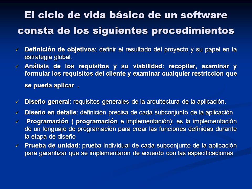 El ciclo de vida básico de un software consta de los siguientes procedimientos Definición de objetivos: definir el resultado del proyecto y su papel e