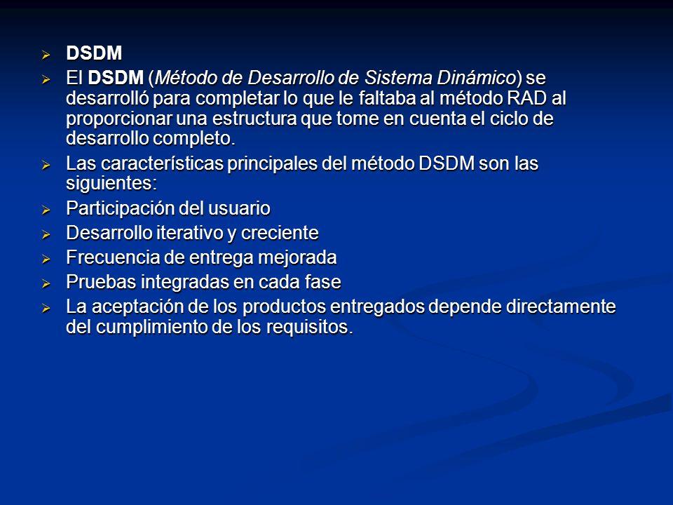 DSDM DSDM El DSDM (Método de Desarrollo de Sistema Dinámico) se desarrolló para completar lo que le faltaba al método RAD al proporcionar una estructu
