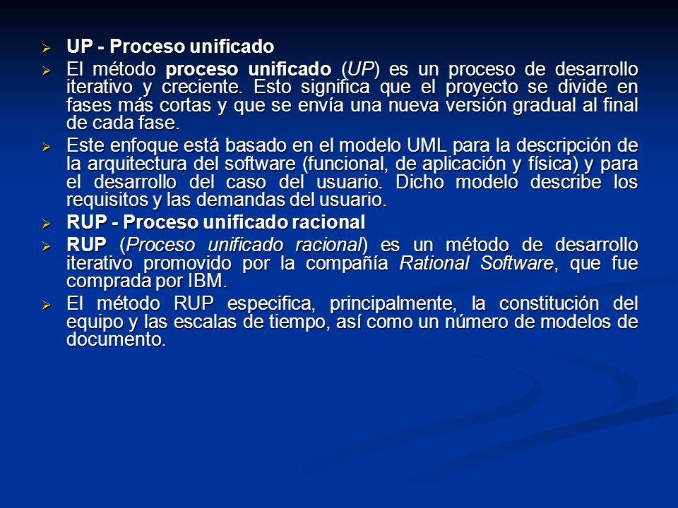 UP - Proceso unificado UP - Proceso unificado El método proceso unificado (UP) es un proceso de desarrollo iterativo y creciente. Esto significa que e