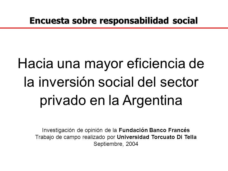 Encuesta sobre responsabilidad social Encuesta sobre responsabilidad social UNIVERSO Con el propósito de conocer las opiniones de los Líderes Empresarios Argentinos acerca de la responsabilidad social, elaboramos diez preguntas que enviamos a 100 empresarios, de los cuáles respondieron la encuesta 54.