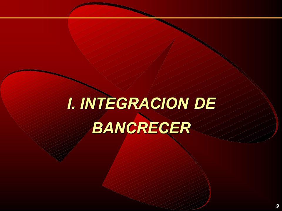 2 I. INTEGRACION DE BANCRECER