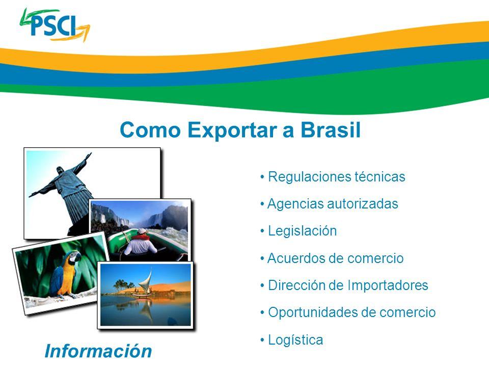 Regulaciones técnicas Agencias autorizadas Legislación Acuerdos de comercio Dirección de Importadores Oportunidades de comercio Logística Como Exporta