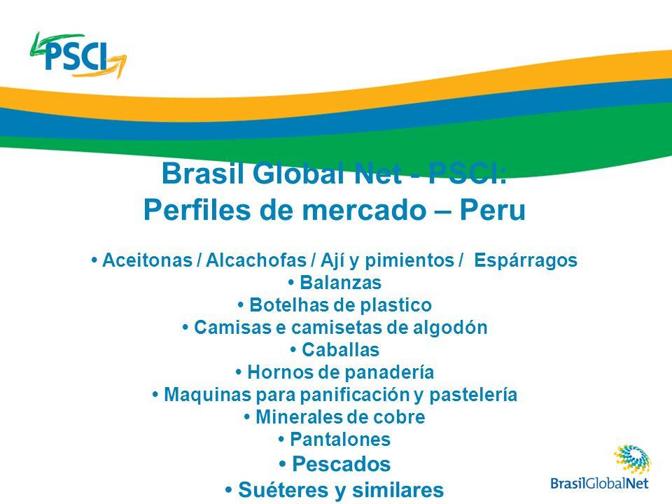 Brasil Global Net - PSCI: Perfiles de mercado – Peru Aceitonas / Alcachofas / Ají y pimientos / Espárragos Balanzas Botelhas de plastico Camisas e cam