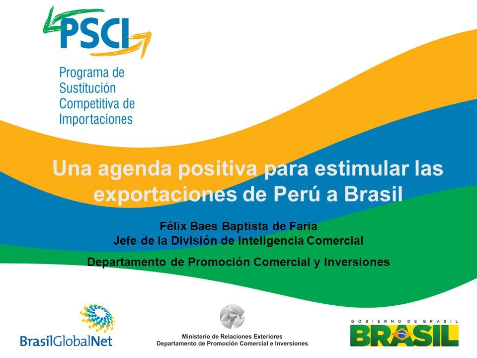 Félix Baes Baptista de Faria Jefe de la División de Inteligencia Comercial Departamento de Promoción Comercial y Inversiones Una agenda positiva para