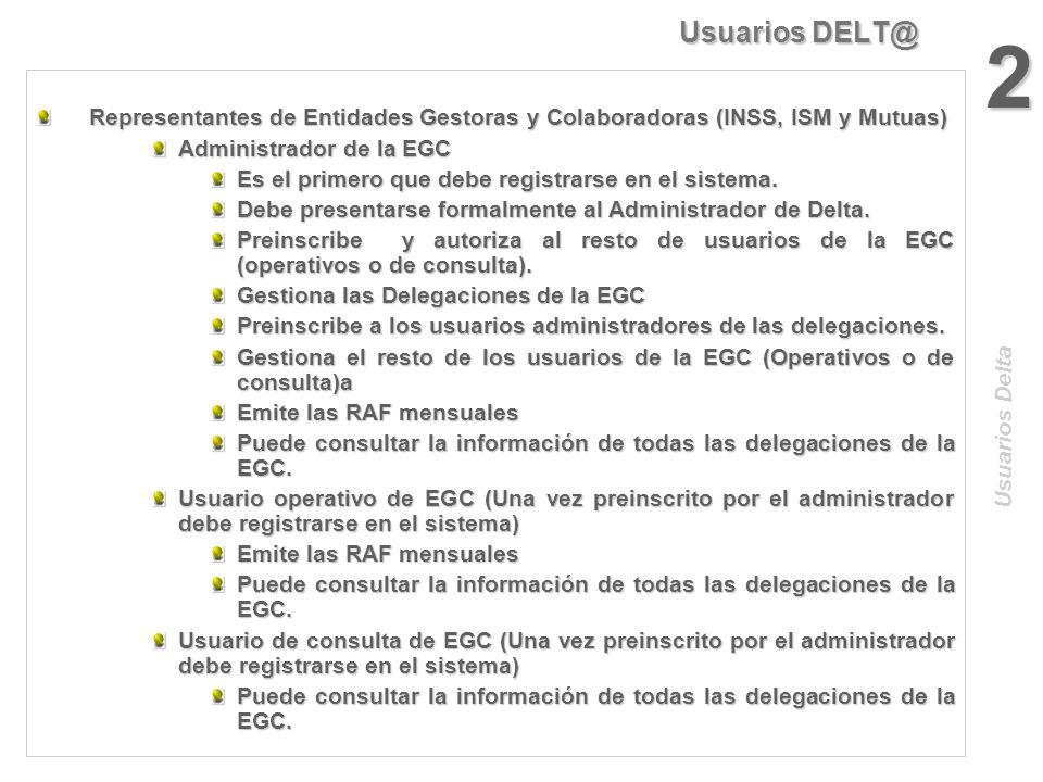 Usuarios DELT@ 1 Usuarios Delta USUARIOS NO REGISTRADOS (No necesitan certificado) Pueden emitir comunicaciones urgentes Pueden emitir comunicaciones
