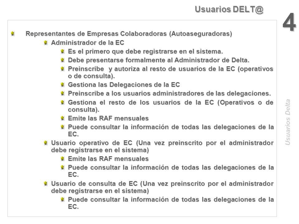 Usuarios DELT@ 3 Representantes de las Delegaciones de Entidades Gestoras y Colaboradoras (INSS, ISM y Mutuas) Representantes de las Delegaciones de E