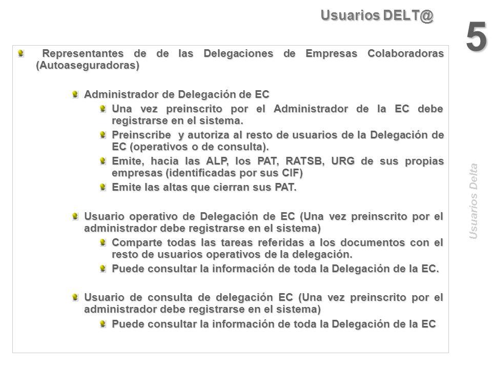 Usuarios DELT@ 4 Usuarios Delta Representantes de Empresas Colaboradoras (Autoaseguradoras) Representantes de Empresas Colaboradoras (Autoaseguradoras