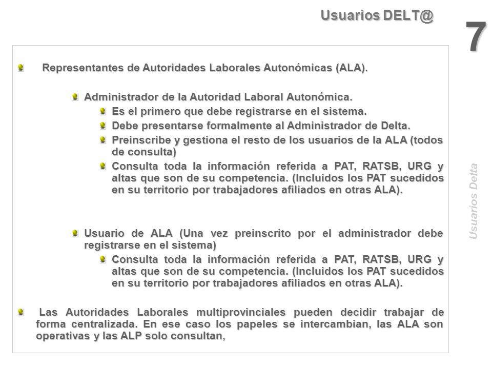 Usuarios DELT@ 6 Representantes de Autoridades Laborales Provinciales (ALP). Representantes de Autoridades Laborales Provinciales (ALP). Administrador