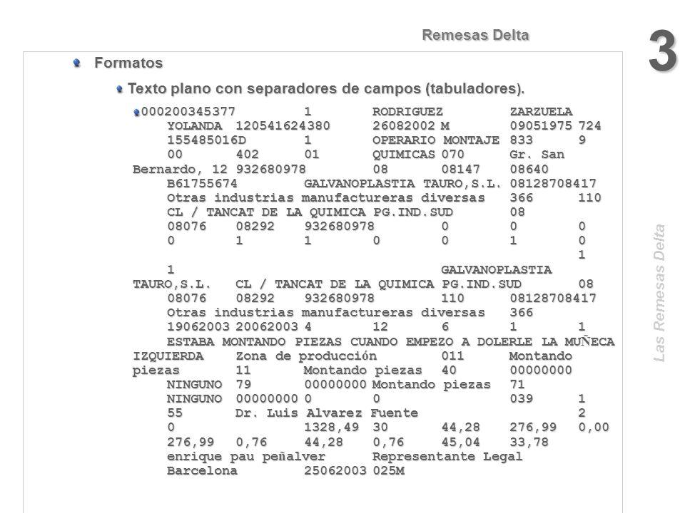 Las Remesas Delta Remesas Delta 2 Formatos Estándar XML (eXtensible Markup Language Lenguaje Extensible de Etiquetado). Estándar XML (eXtensible Marku