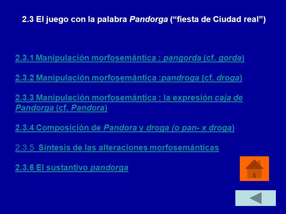 2.3.1 Manipulación morfosemántica : pangorda (cf. gorda) 2.3.2 Manipulación morfosemántica :pandroga (cf. droga) 2.3.3 Manipulación morfosemántica : l