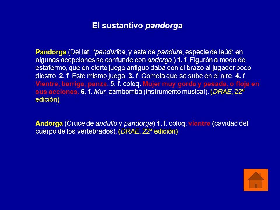 Pandorga (Del lat. *pandurĭca, y este de pandūra, especie de laúd; en algunas acepciones se confunde con andorga.) 1. f. Figurón a modo de estafermo,