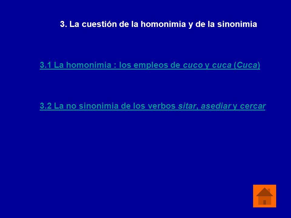 3.1 La homonimia : los empleos de cuco y cuca (Cuca) 3.2 La no sinonimia de los verbos sitar, asediar y cercar 3. La cuestión de la homonimia y de la