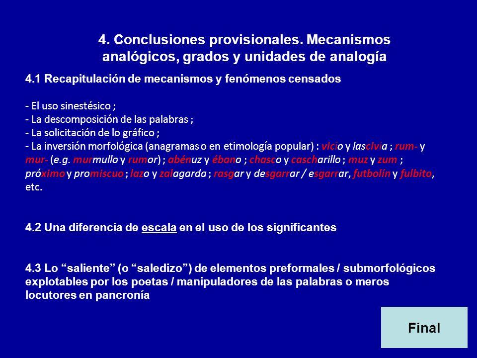 4. Conclusiones provisionales. Mecanismos analógicos, grados y unidades de analogía 4.1 Recapitulación de mecanismos y fenómenos censados - El uso sin