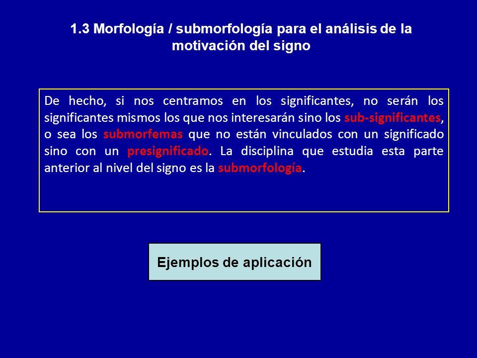 1.3 Morfología / submorfología para el análisis de la motivación del signo De hecho, si nos centramos en los significantes, no serán los significantes