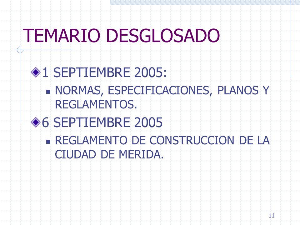 10 TEMARIO DESGLOSADO 25 AGOSTO 2005: Presentación e Introducción del curso Procedimientos de construcción 30 AGOSTO 2005 Evaluacion y condiciones del