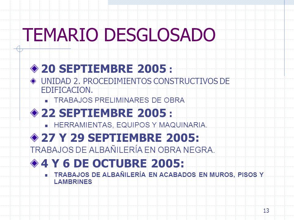 12 TEMARIO DESGLOSADO 8 SEPTIEMBRE 2005: EJERCICIO PRACTICO SOBRE LA OBTENCION DE UN PERMISO DE CONSTRUCCION REVISION DE SUPERVISION DE OBRA, REGISTRO