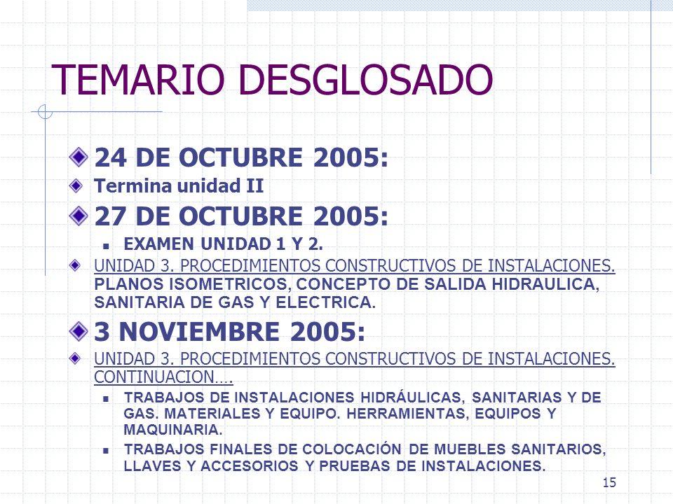 14 TEMARIO DESGLOSADO 11 Y 13 DE OCTUBRE 2005: UNIDAD 2. CONTINUACION 17 DE OCTUBRE 2005: UNIDAD 2. CONTINUACION. TRABAJOS FINALES Y COMPLEMENTARIOS 2