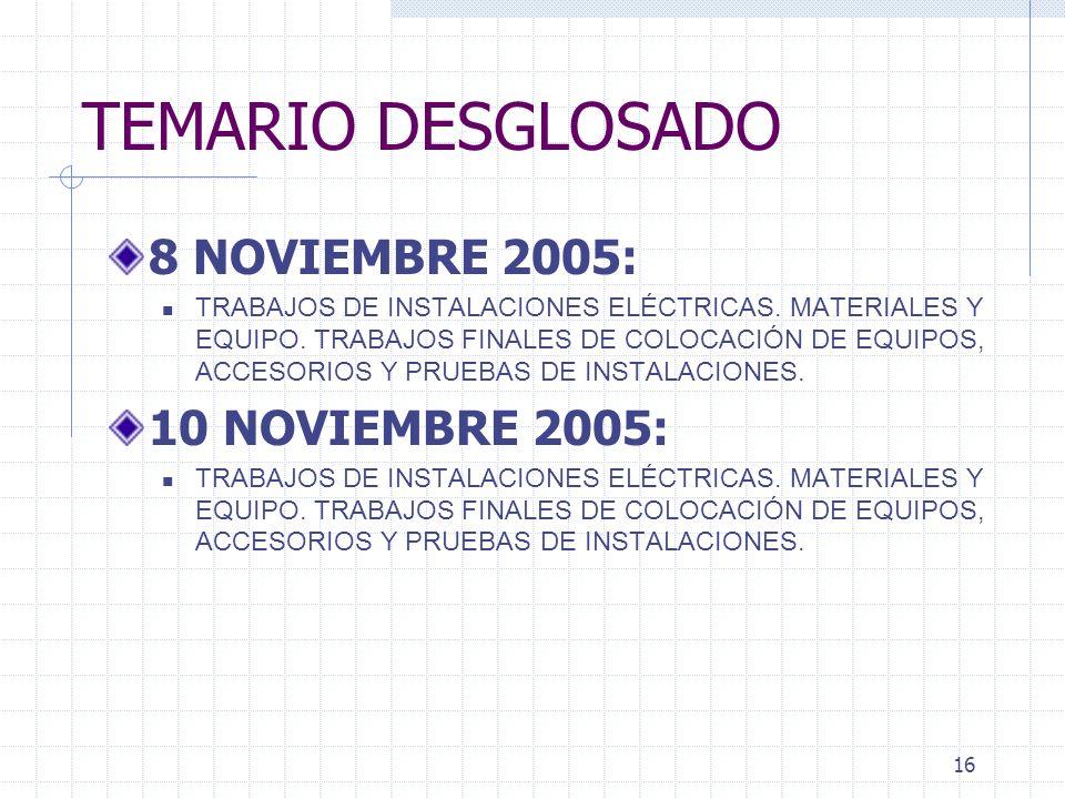 15 TEMARIO DESGLOSADO 24 DE OCTUBRE 2005: Termina unidad II 27 DE OCTUBRE 2005: EXAMEN UNIDAD 1 Y 2. UNIDAD 3. PROCEDIMIENTOS CONSTRUCTIVOS DE INSTALA