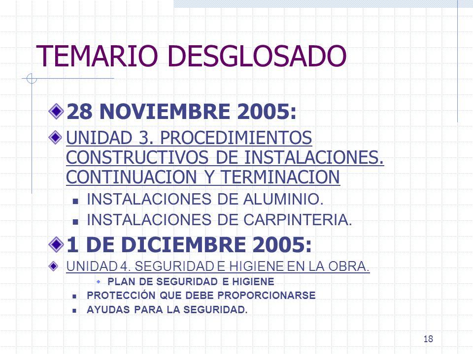 17 TEMARIO DESGLOSADO 14 Y 17 NOVIEMBRE 2005: PRESENTACION POR TODOS LOS EQUIPOS: PARTE 2 DEL PROYECTO INTEGRADOR. 21 Y 24 NOVIEMBRE 2005: EXP INST EL