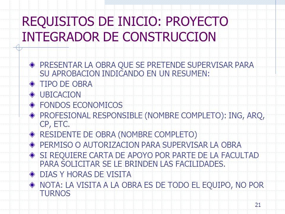 20 PROYECTO INTEGRADOR DE CONSTRUCCION SUPERVISION DE UNA OBRA DE CONSTRUCCION CASA HABITACION FRACCIONAMIENTO (75%) CASA HABITACION RESIDENCIAL (80%)