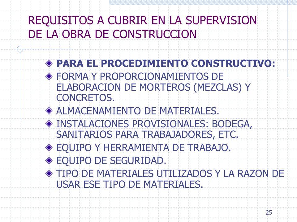 24 REQUISITOS A CUBRIR EN LA SUPERVISION DE LA OBRA DE CONSTRUCCION PRESENTAR ANALISIS CRITICO SEÑALANDO: PARA EL PROCEDIMIENTO CONSTRUCTIVO: ERRORES