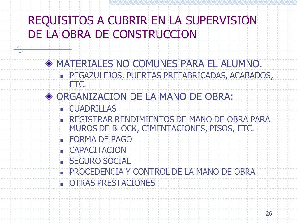 25 REQUISITOS A CUBRIR EN LA SUPERVISION DE LA OBRA DE CONSTRUCCION PARA EL PROCEDIMIENTO CONSTRUCTIVO: FORMA Y PROPORCIONAMIENTOS DE ELABORACION DE M