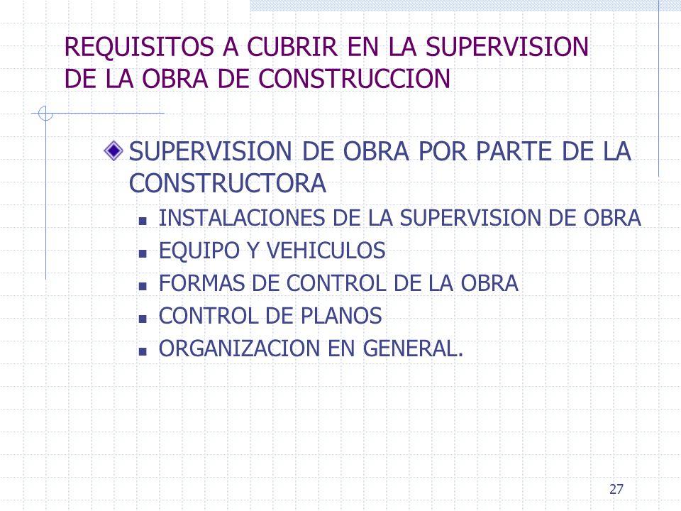 26 REQUISITOS A CUBRIR EN LA SUPERVISION DE LA OBRA DE CONSTRUCCION MATERIALES NO COMUNES PARA EL ALUMNO. PEGAZULEJOS, PUERTAS PREFABRICADAS, ACABADOS
