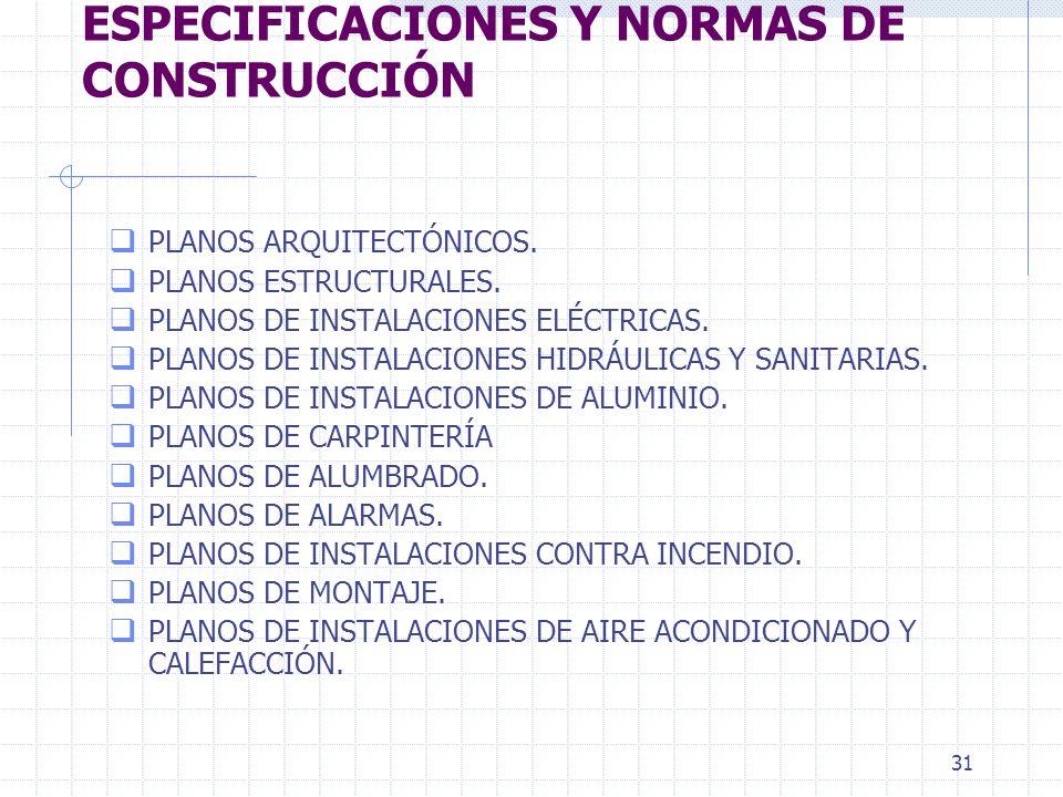 30 UNIDAD I. PLANOS, ESPECIFICACIONES Y NORMAS DE CONSTRUCCIÓN Proyecto. Para llevar a cabo con exito una construccion es de suma importancia contar c