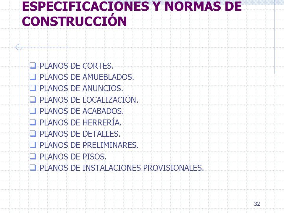 31 UNIDAD I. PLANOS, ESPECIFICACIONES Y NORMAS DE CONSTRUCCIÓN q PLANOS ARQUITECTÓNICOS. q PLANOS ESTRUCTURALES. q PLANOS DE INSTALACIONES ELÉCTRICAS.