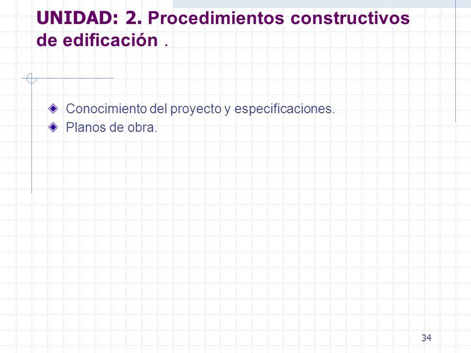 33 UNIDAD I. PLANOS, ESPECIFICACIONES Y NORMAS DE CONSTRUCCIÓN Especificaciones de construcción.
